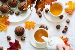 Twee koppen van Engelse thee met melk Royalty-vrije Stock Foto's
