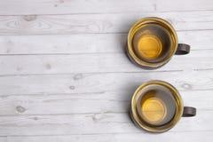 Twee koppen van groene thee royalty-vrije stock foto