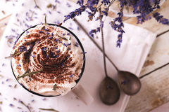 Twee koppen van hete chocolade met slagroom Royalty-vrije Stock Foto's