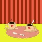 Twee koppen van koffie stock foto's