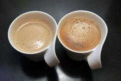 Twee koppen van koffie Stock Foto