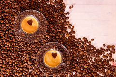 Twee koppen van koffie Mening van hierboven Royalty-vrije Stock Afbeeldingen