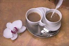 Twee koppen van koffie met melk Royalty-vrije Stock Afbeelding