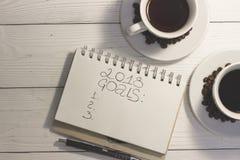 Twee koppen van koffie op een witte houten lijst Stock Foto's