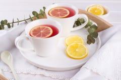 Twee koppen van rood fruit en aftreksel met citroenplak, Royalty-vrije Stock Foto's