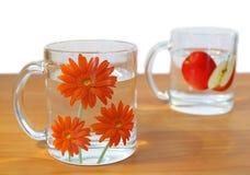 Twee koppen van water Stock Afbeeldingen