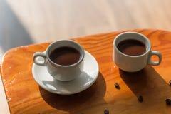 Twee koppen van zwarte koffie Royalty-vrije Stock Afbeelding