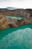 Twee kratermeren hierboven worden gezien die van Stock Fotografie