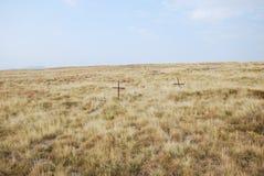 Twee kruisen op een gebied die de WWI-slag van Kajmakchalan herinneren Royalty-vrije Stock Foto's