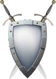 Twee kruisten zwaarden die achter het schild zijn stock illustratie