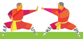 Twee kungfuvechters beginnen een duel Royalty-vrije Stock Foto