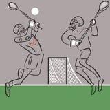 Twee Lacrossespelers op actie vectorachtergrond royalty-vrije stock afbeeldingen