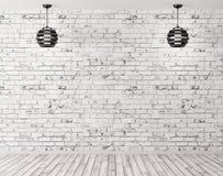 Twee lampen tegen van 3d bakstenen muur binnenlandse achtergrond geven terug royalty-vrije illustratie
