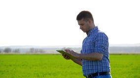 Twee landbouwers die handen op tarwegebied schudden Twee landbouwers op een gebied die tarwegewas onderzoeken stock video