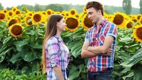 Twee landbouwers schudden een overeenkomst, een man en een vrouw in het agrarische gebied, die op een gebied van zonnebloemen spr stock video