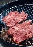 Twee lapjes vlees bij de grill Royalty-vrije Stock Afbeeldingen