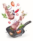 Twee lapjes vlees met hete peper en kruiden stock illustratie