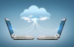Twee laptop computers met het hologram van de wereldkaart royalty-vrije illustratie