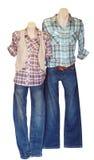 Twee Ledenpoppen van de Winkel in Toevallige Kleding Royalty-vrije Stock Fotografie