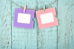 Twee lege kleurrijke fotokaders Stock Fotografie