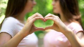 Twee lesbiennes die hart met handen maken, vrije uitdrukking van liefde, lgbt rechten stock foto's