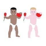 Twee leuke babys met hart en namen in luiers toe Stock Afbeelding
