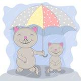 Twee leuke beeldverhaalkat met paraplu onder de regen Stock Illustratie