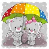 Twee leuke beeldverhaalkatjes met paraplu royalty-vrije illustratie