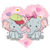 Twee leuke beeldverhaalolifanten vector illustratie