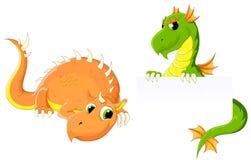 Twee leuke draken royalty-vrije illustratie