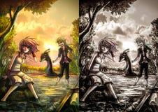 Twee leuke fantasiemeisjes die op de rivieroeverbank rusten Stock Afbeelding