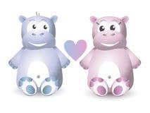Twee Leuke Hippo Zitting Stock Afbeeldingen