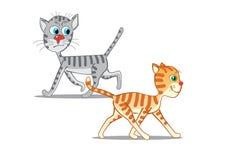 Twee leuke katten Vector illustratie Royalty-vrije Stock Afbeelding