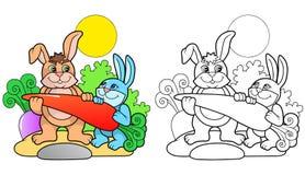 Twee leuke konijntjeswortel die gaan eten Stock Afbeeldingen