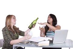 Twee leuke meisjes die bij hun bureaus bestuderen Royalty-vrije Stock Afbeelding