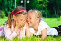 Twee leuke meisjes die op het gras lachen Royalty-vrije Stock Fotografie