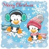 Twee Leuke Pinguïnen op de sneeuwvlokken vector illustratie