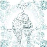 Twee leuke vogels in liefde Stock Afbeelding