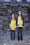 Twee leuke wijfjestiener in gele t-shirt Stock Fotografie