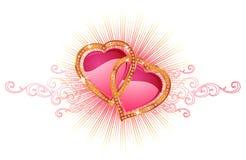Twee liefdeharten/vector Stock Afbeelding