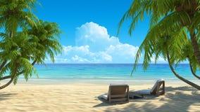Twee ligstoelen op idyllisch tropisch wit zand zijn vector illustratie