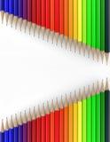 Twee lijnen van kleurpotloden 3d geef terug Stock Foto