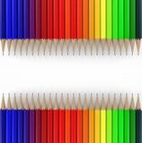 Twee lijnen van kleurpotloden 3d geef terug Stock Foto's