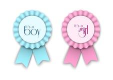 Twee lintrozetten voor pasgeboren baby Royalty-vrije Stock Afbeeldingen