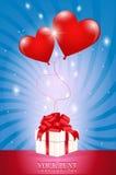 Twee lucht rood bal-hart in bijlage aan een giftdoos Stock Afbeelding