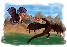 Twee magische draken Royalty-vrije Stock Foto