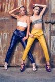 Twee maniermeisjes tegen roestige deuren Stock Foto