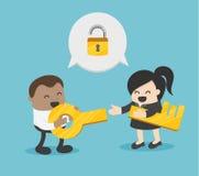 Twee mannelijke en vrouwelijke verschillende sleutels van de zakenliedengreep en sluiten royalty-vrije illustratie