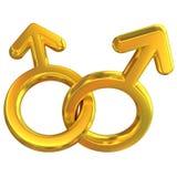 Twee mannelijke gekruiste symbolen het vertegenwoordigen van vrolijke relatie Royalty-vrije Stock Foto's