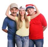 Twee mannen en de mooie jonge vrouw de blonde Royalty-vrije Stock Fotografie